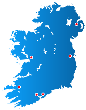 Map of locations in Ireland